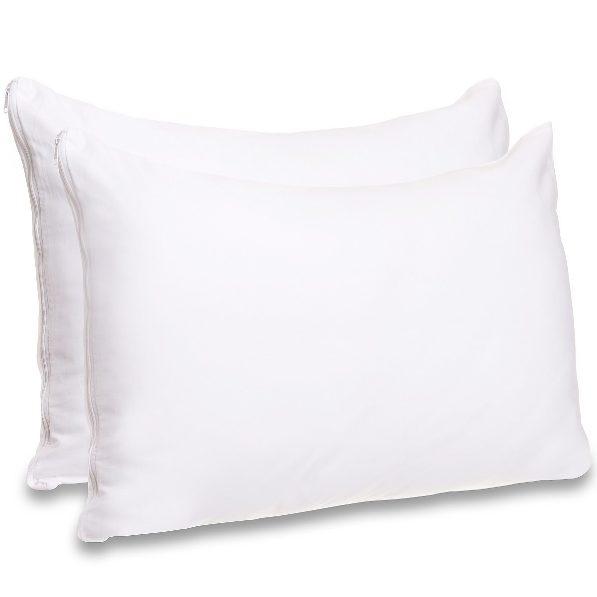 Mellanni Cotton Pillow Cases w/Zipper - Set of 2 Standard Pillow Covers, Protectors