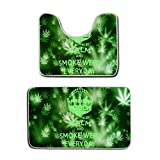 AMERICAN TANG Memory Foam 2 piece bathroom rug set - Keep Calm and Smoke Weed Everyday - Skidproof bath Mat And Toilet Seat Contour Cover rug