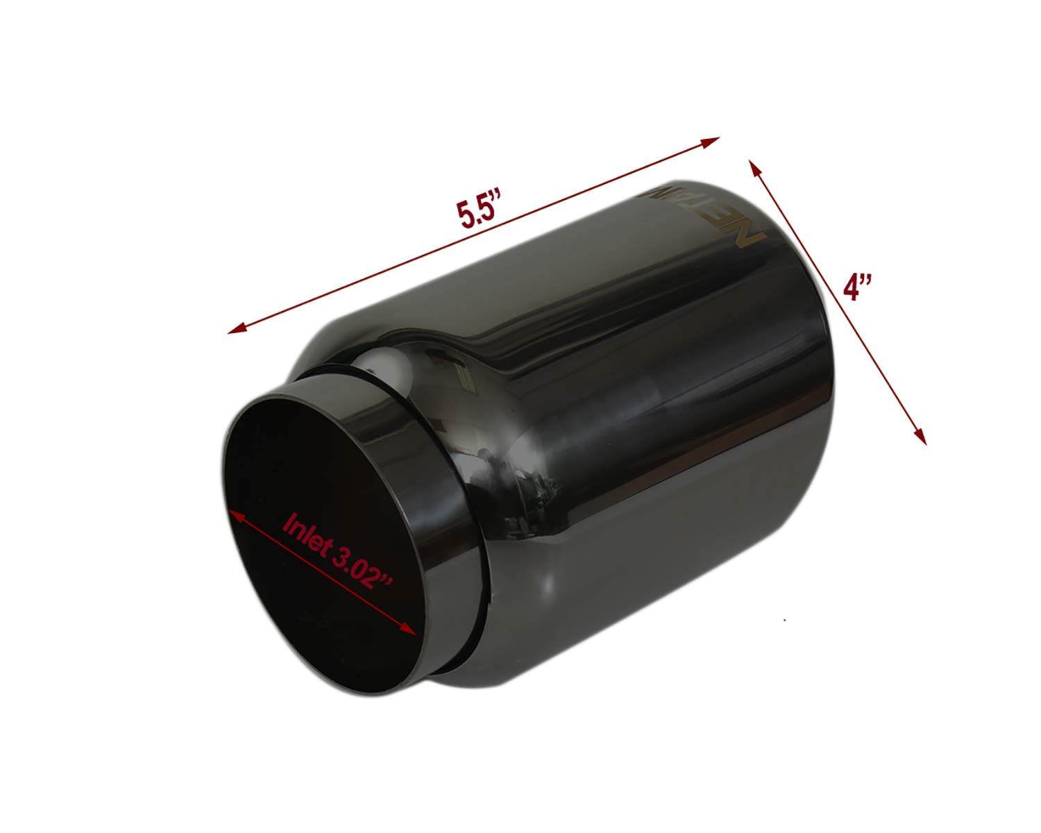 Polished, 3 Inlet//4 Outlet 3 Inlet//4 Outlet NETAMI USA INC NT-3010 NETAMI T304 Black Stainless Steel Exhaust Tip