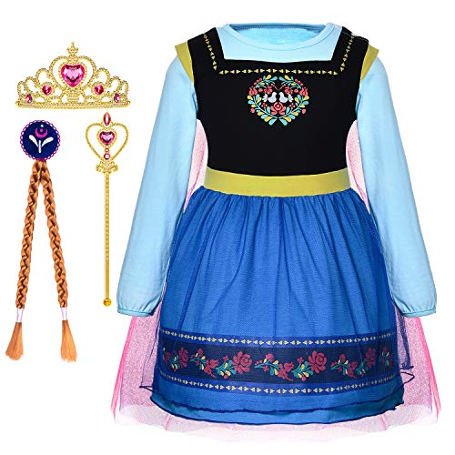 Princess Anna Costume Generic Dresses Little Girls Long Sleeve Dress Up Clothes for Toddler Girl de Cosplay Birthday Party with Accessories Size 18M 24M (18-24 Months) ()