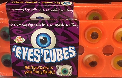 Gummy Eyes Cubes - Eyeballs in reuseable Ice Cube Tray x 1 Halloween Novelty Jelly Sweets Rose