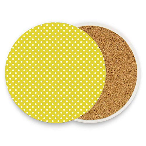 - Coasters for Drinks Absorbent Pack of 1, Yellow Polka Dot Ceramic Stone Coaster with Absorb Cork Non-slip Back