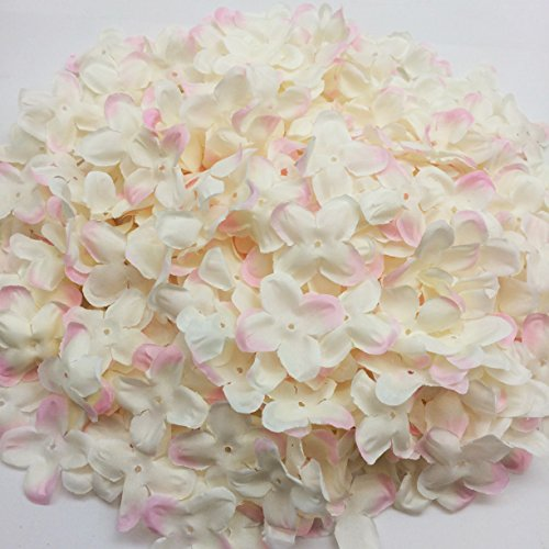 PEPPERLONELY Brand White & Pink Fabric Flower 4 Petals, 1 OZ Approx.220PC + Flower Petals, 50mm (2 Inch) ()