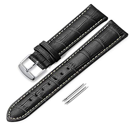 iStrap 21mm Genuine Calf Leather Watch Band Croco Grain Tan Stitch Tang Buckle - ()