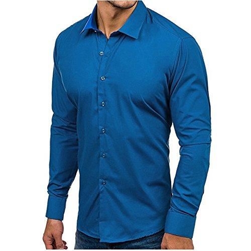 Maglie Uomo Camicie Slim Cielo Maglietta Blu Lunga Camicia Witsaye A Manica Da Elegante UXdqPpqw