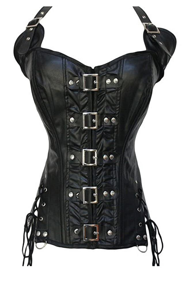 Blidece Steampunk Punk Rock Faux Leather Buckle-up Corset Bustier Basque Top BL-9-00009