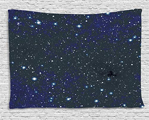 (Ambesonne Night Tapestry, Composition with Dots Night Sky Theme Abstract Style Arrangement Cosmos Concept, Wall Hanging for Bedroom Living Room Dorm, 80 W X 60 L Inches, Dark Blue White)