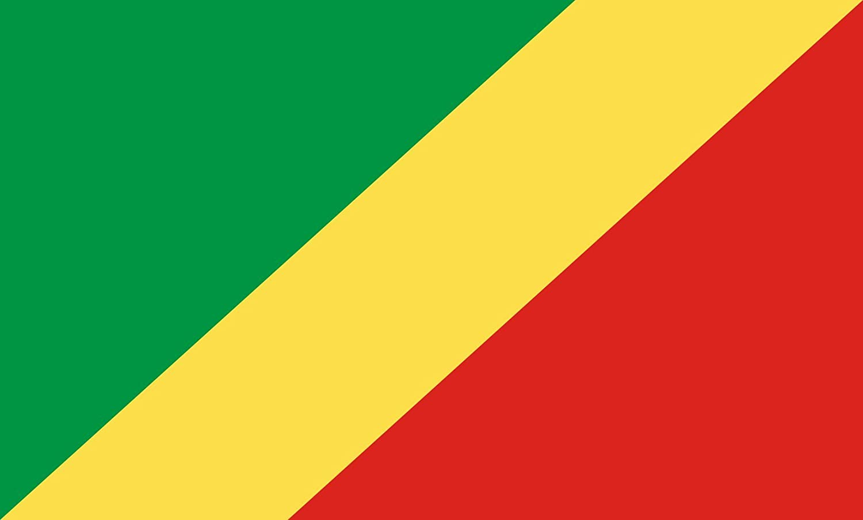 Diplomat magFlags Raum-Fahne mit modernem verchromtem Fahnenständer und Marmor-Fuß   Flagge  Republik Kongo 90x150cm   Höhe  230cm