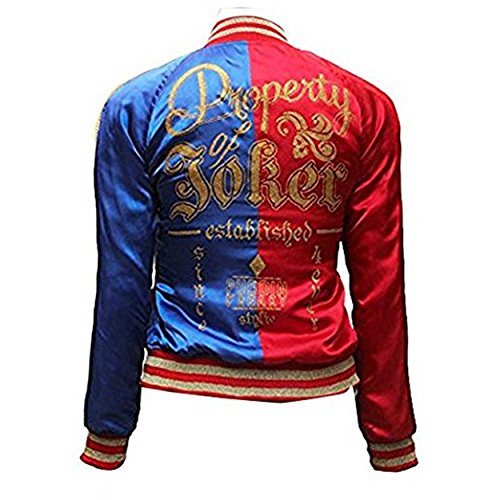 Suicide Squad Harley Quinn Jacket by Riados, Outdoor Bomber Sports Warm and Stylish Satin Casual Jacket for Women (Small)