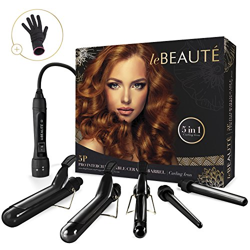 Le Beaute 5-in-1 Curling Iron and Wand Set - 5 Interchangeable Tourmaline Ceramic Barrels and Heat Protectant Glove Included: 2 Clipped, 3 Clipless 1/2 Inch To 1 1/2 Inch