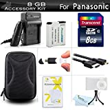 8GB Accessories Kit For Panasonic Lumix ZS50, DMC-ZS45K, DMC-ZS40K, DMC-ZS30, DMC-TS6 Digital Camera Includes 8GB High Speed SD Memory Card + Replacement DMW-BCM13E Battery + Charger + Case + More
