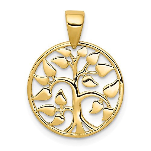 14k Yellow Gold Heart Leaf Tree of Life Pendant, 15mm (9/16 inch)