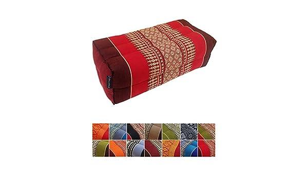 Almohada de ceiba para apoyo tradicional tailandés (yoga o meditación), 35 x 15 cm, Red, Maroon: Amazon.es: Deportes y aire libre