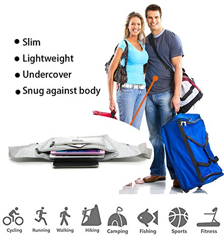 Naoki Outdoor Sports Running Jogging Cycling Hiking Camping Climbing Travel Ultra-thin Waterproof Polyester Waist Pack / Bag Runner Belt(Silver) by NAOKI LOVE (Image #7)