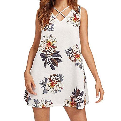 Women Dress, Limsea Floral Printing Chiffon Sleeveless Above Knee Mini Dress Loose Beach Dress