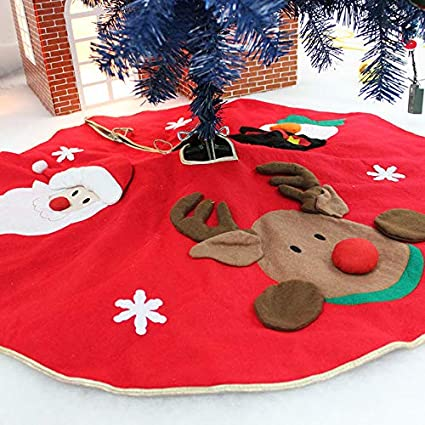 Amerzam Christmas Tree Skirt Mat Christmas Holiday Party Decoration (RED) best Christmas tree skirt