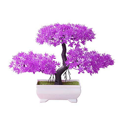 angel3292 Clearance Deals!!Artificial Plant,Welcoming Pine Bonsai Simulation Artificial Potted Plant Ornament Home Decor Rose Red