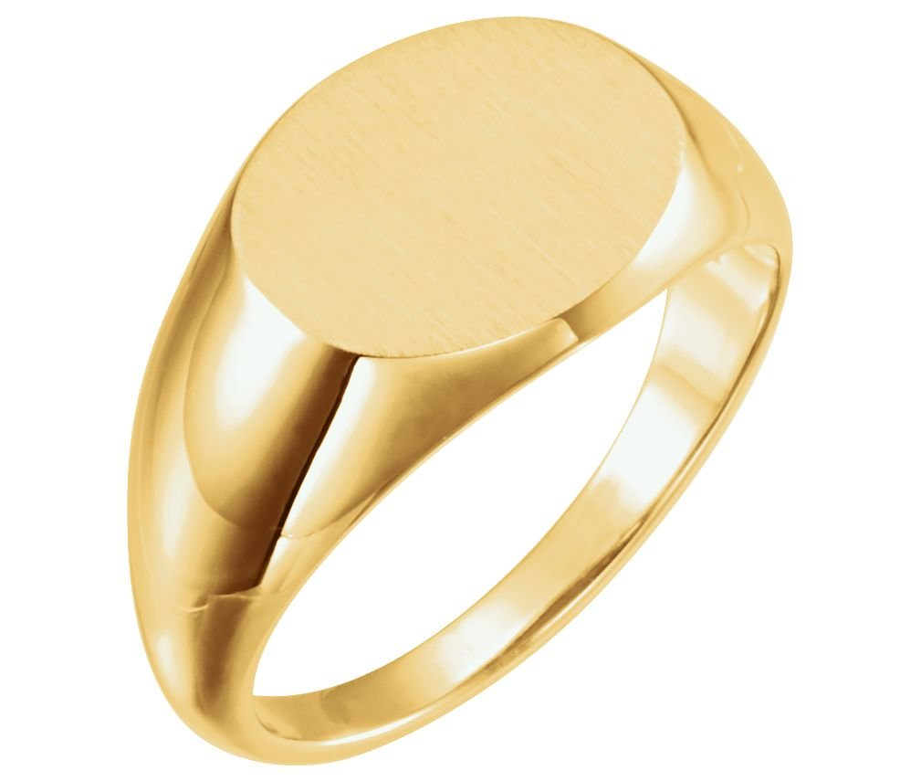 Men's Brushed Oval Signet Ring, 14k Yellow Gold (12x14 MM) Size 9.75