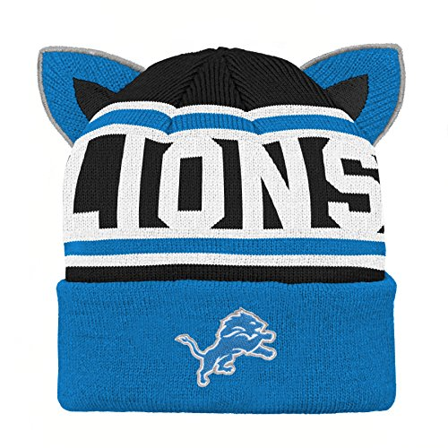 Outerstuff NFL Detroit Lions Team Ears Fleece Knit Hat Lion Blue, Infant One Size (Lions Toddler Fleece)