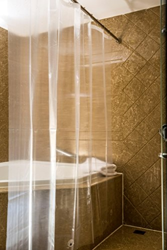 Caitlin White Clear PEVA Shower Curtain Liner, Waterproof, Odorless