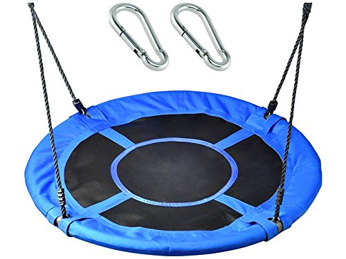 Saucer Swing by Soarin Supply Co || 40quot Round Tree Swing Set with Bonus Carabiners || Adjustable Straps  Waterproof  Easy to Install || Great for kids and the Whole Family