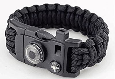 2 Frijid Paracord Bracelets 15-in-1 Multi-Function Survival Kit: Compass / Thermometer / Fire Starter / Whistle / Multi-Tool / Bottle Opener from Frijid