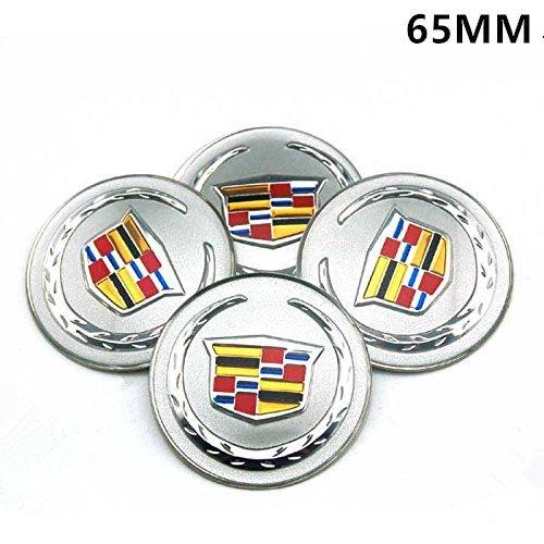 Cadillac Cts Center Cap (HYFML 4pcs 65mm Car Accessories Emblem Badge Sticker Wheel Hub Caps Centre Cover For Cadillac ATS CTS EXT SRX XTS XLR)