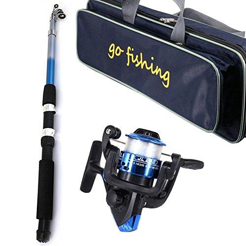 fishing rod reel set kit with line travel telescopic beginners childrens junior holder for novices and children kids…