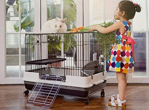Mcage Large 2-Level Indoor Small Animal Pet Habitat Cage Guinea Pig Hamster Gerbil Rat Mice Hedgehog Ferret Chinchilla with Solid Platform & Ramp, 2 Large Access Doors (0.9-Inch Bar Spacing, 2-Level)