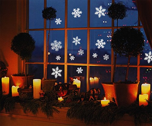 Christmas Window Clings - 81 White Snowflakes Window Clings- Reusable, No Mess, Snowflake Decals Window Stickers For Christmas Ornaments, Winter Decoration Or Home Decor. Assorted Designs