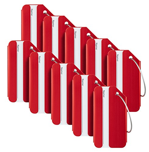 Travelambo Luggage Tags & Bag Tags Stainless Steel Aluminum Various Colors (red 10 pcs set)