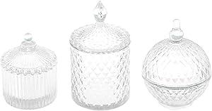 3 Pieces 1/6 Scale Dollhouse Miniature Clear Candy Bottle Jars Kitchen Furniture Decoration Set - Clear