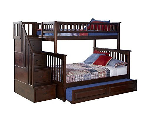 unk Bed with Trundle Bed, Twin Over Full, Antique Walnut ()