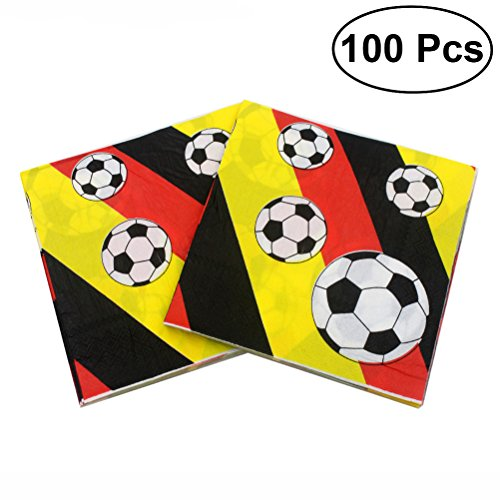 100pcs Football Paper Napkins World Cup Party Printing Tissue for Celebration Birthday Holiday by LUOEM