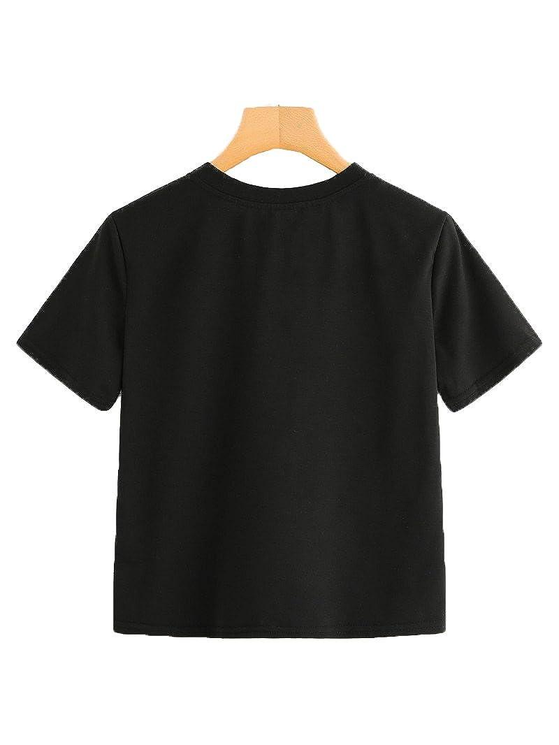 387f752e7ef5b Romwe Women s Summer Rainbow Color Block Striped Crop Top School Girl Teen  Tshirts at Amazon Women s Clothing store