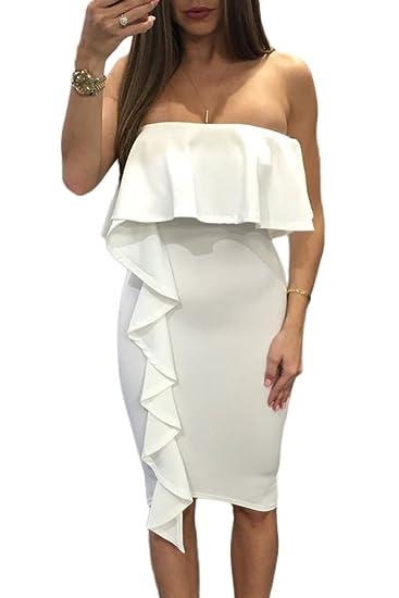 795c012db6 Amazon.com  Lucklovell Women Sexy White Asymmetric Ruffle Trim Strapless  Bodycon Dress ((US 12-14)L