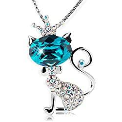 "LadyRosian ""Cat Princess""Cute Fashion Love Necklace Made with Blue Swarovski Crystals Elements Women&Girls Jewelry Gifts"