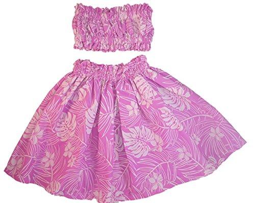 [Hula Girl Outfit Costume Hawaiian Polynesian Print (4T-5T, Pink/Lt Pink)] (Hawaiian Hula Outfits)