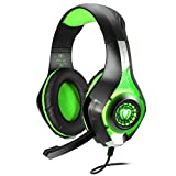 BlueFire 3.5mm Gaming Headset with Microphone and Volume Control,Wired Over Ear LED Light Stereo Heaphones for PlayStation 4 PS4, Xbox one,PC (Green in Black)
