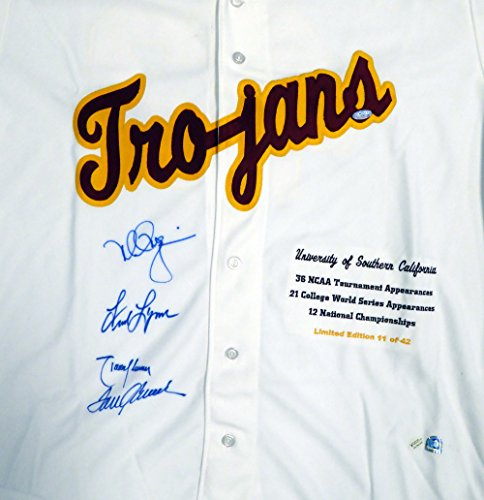 USC Tojans Legends Autographed White Jersey With 4 Signatures Including Tom Seaver, Mark McGwire, Randy Johnson & Fred Lynn Limited Edition #/42 - Steiner COA