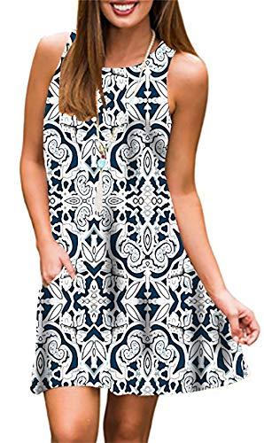 Summer Beach Dresses for Women Tshirt Sundresses Boho Casual Sleeveless Floral Shift Pockets Swing Loose Damask Geometric Small