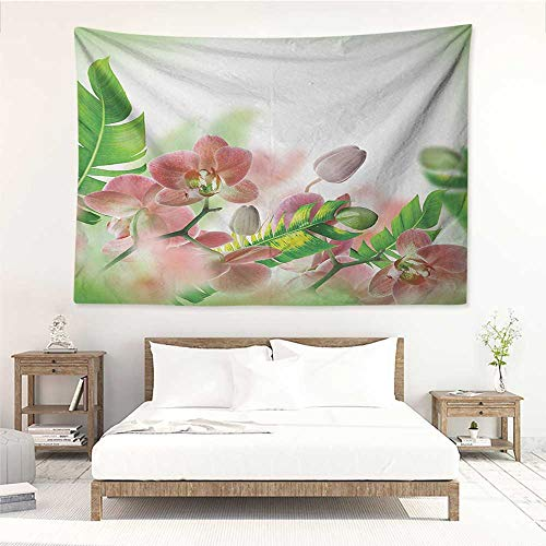 - alisos Tropical,Wall Art Tapestry Tropical Orchids Branch Stem Petal Leaf Bud Spring Blooming Flowers Print 80W x 60L Inch Home Decor Wall Hanging Peach and Green