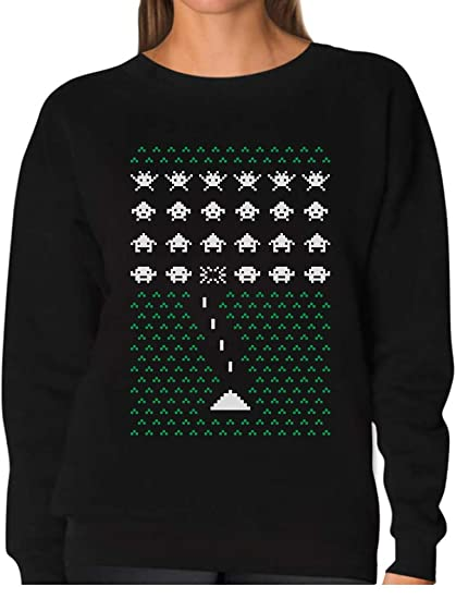 Amazoncom Tstars Space Geeky Ugly Christmas Sweater Style Invaders