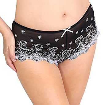 Prestige Biatta Women's Jewel Mesh Hot Short W/ Silver Embroidery Unisex-Small-BlackSilver