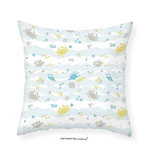 VROSELV Custom Cotton Linen Pillowcase Crabs Decor Maritime Decor Crabs and Seashells on Spotty Background Decorative Print for Bedroom Living Room Dorm Blue and Yellow - Crab Needlepoint