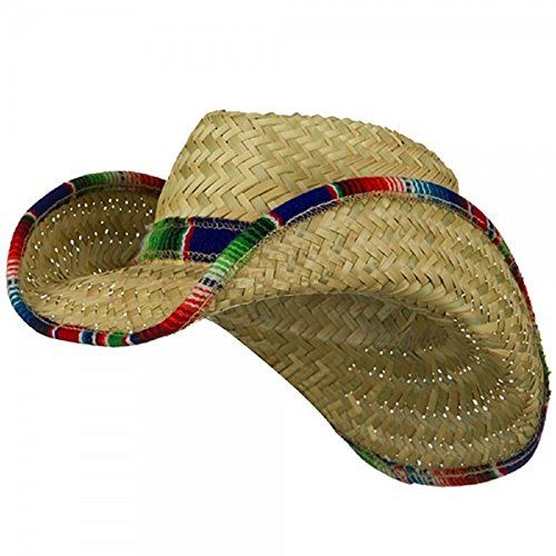 Western Cowboy Adult Straw Mexican Hat With Serape Band Trim Costume Accessory