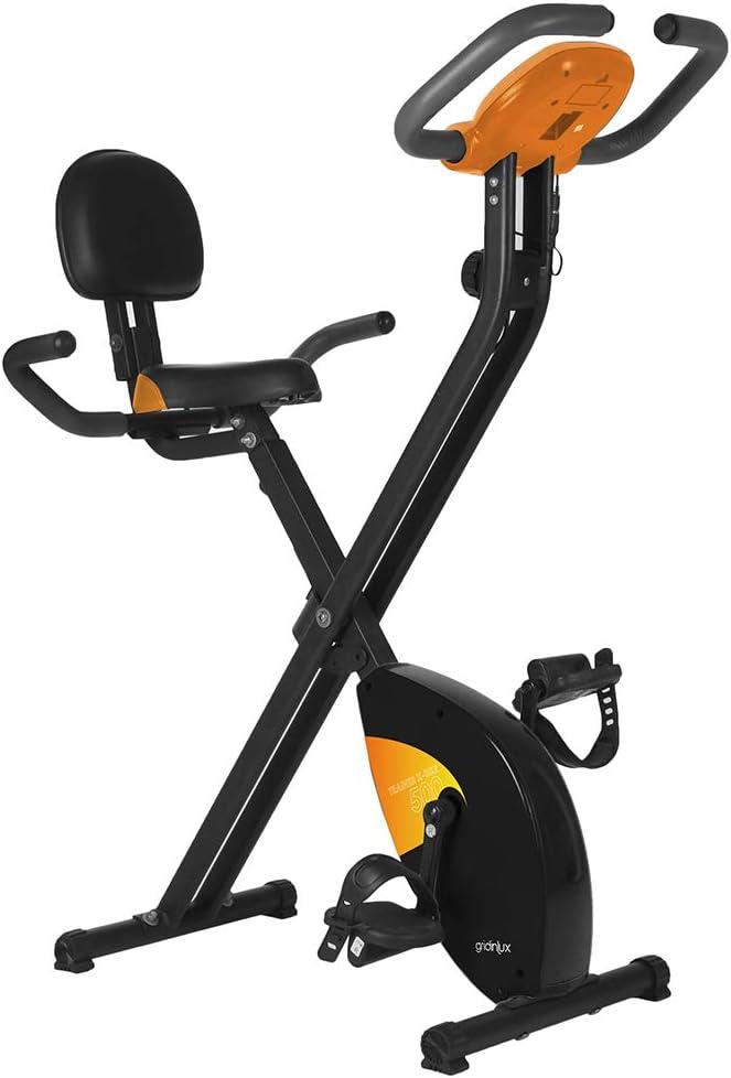 gridinlux. Trainer X-Bike 500. Bicicleta estática Magnética Plegable, Doble Agarre, Pulsómetro...