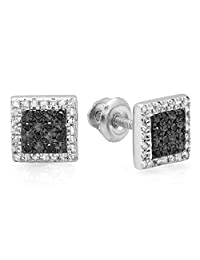 0.15 Carat (ctw) Sterling Silver Round White & Black Diamond Micro Pave Square Stud Earrings