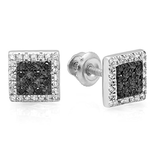 0.15 Carat (ctw) Sterling Silver Round White & Black Diamond Micro Pave Square Stud Earrings ()
