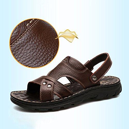 Pelle Scarpe Camminare Uomo Da Base Sandali Soft Antiscivolo Uomo Vera Spiaggia Massaggio Estate Casual In Pantofole Brown Per wE67SqUE